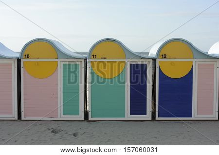 Changing booths for beach goers in Dunkirk, France