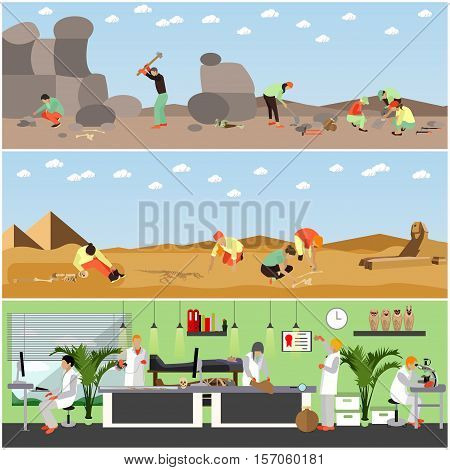 Vector set of posters, banners with archaeologists at work, tools and equipment. Archaeological laboratory research and excavation concept design elements in flat style.