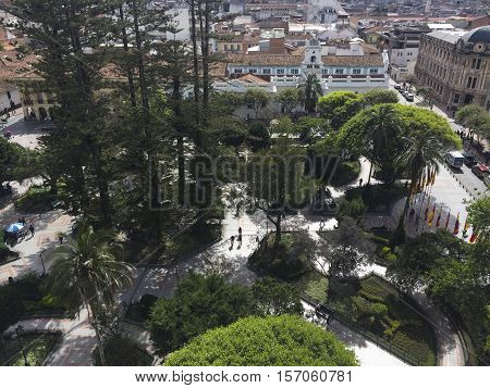Calderon Square in Cuenca seen from above