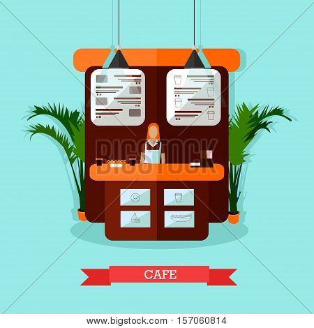 Vector illustration of young woman standing behind of bar counter. Cafe interior design in flat style.