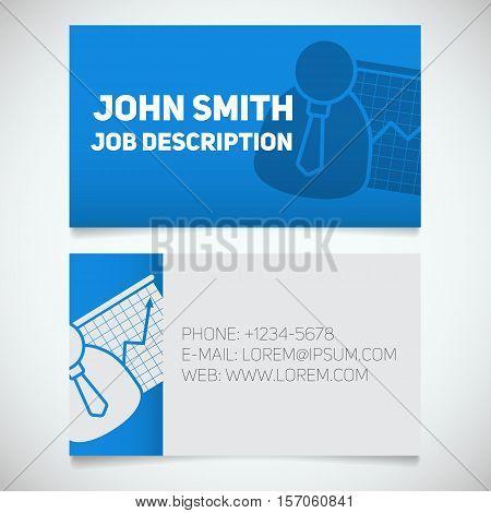 Business card print template with presentation graph logo. Easy edit. Marketer. Stockbroker. Stationery design concept. Vector illustration