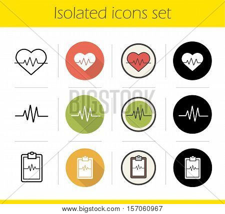 Cardiology icons set. Flat design, linear, black and color styles. Cardio monitor, ecg curve on clipboard and heartbeat symbols. Heart care. Isolated vector illustrations