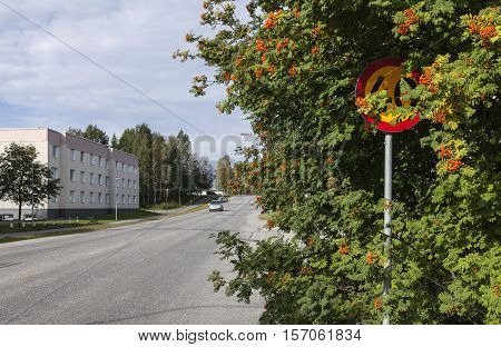 UMEA, SWEDEN ON AUGUST 30. View of a modern settlement, street, traffic on August 30, 2016 in Umea, Sweden. Sign, signal speed limit. Rowan tree, red berries in urban area. Editorial use.