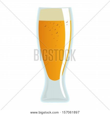 Beer mug on white background. Cartoon illustration of beer glass. Colorful illustration of beer. Hand drawing of glass with light beer. Vector.