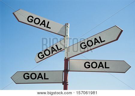 Metal Sign Post with Text Saying Goal