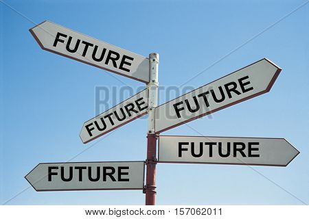 Metal Sign Post with Text Saying Future