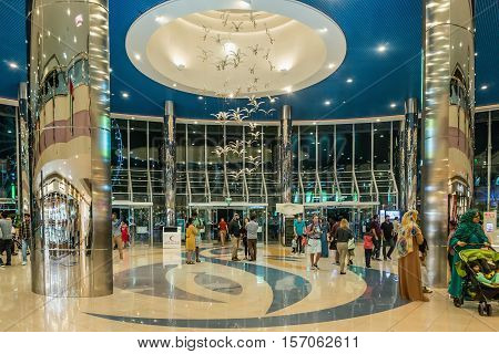 ABU DHABI - NOVEMBER 4 2016: Entrance inside a large shopping center Marina mall in Abu Dhabi UAE. Marina Mall is Abu Dhabi's premium shopping mall and entertainment landmark.