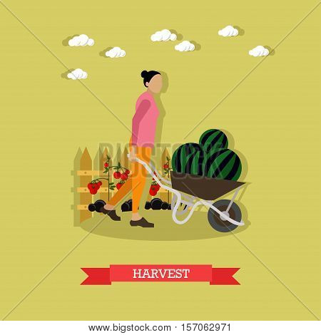 Woman with pushcart full of watermelon. Harvesting and gardening concepts. Vector illustration in flat style
