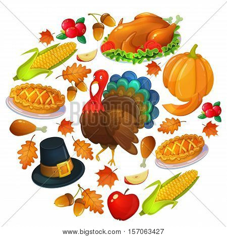 Round template with Thanksgiving icons. Colorful illustration of Thanksgiving day greeting card. Traditional Thanksgiving food leaves and turkey. Thanksgiving Day background for decoration. Vector.