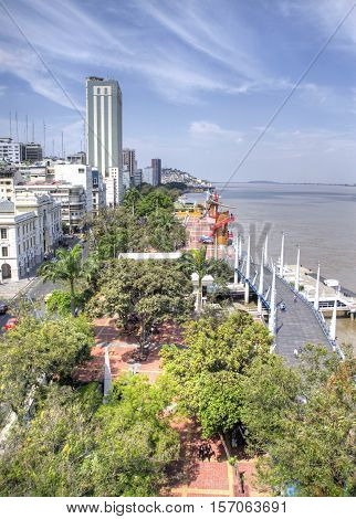 High view of the boardwalk and river in the city of Guayaquil