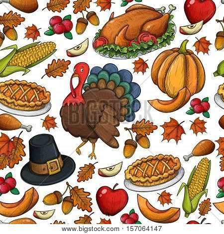 Seamless pattern of colorful Thanksgiving icons. Thanksgiving day greeting card. Vintage Thanksgiving food leaves and turkey. Thanksgiving Day background for decoration. Vector.