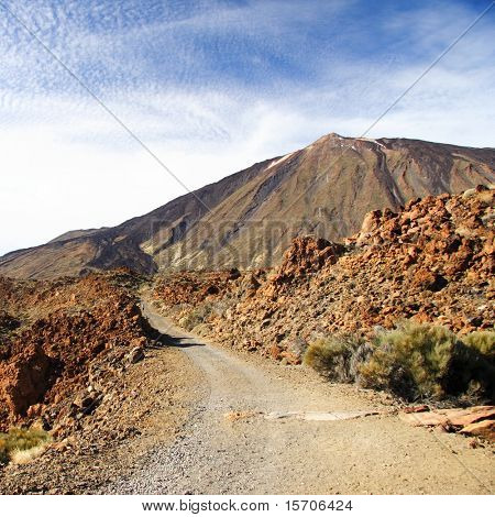 Dirt road to the volcano Teide on Tenerife, Spain