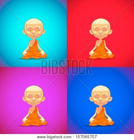 Meditating. Monk. Little meditating monk. Vector cartoon illustration. Set.