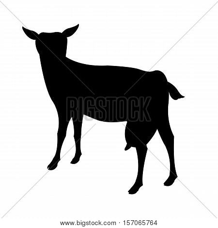 goat vector illustration black silhouette profile side