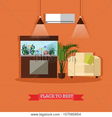 Vector illustration of place to rest in house or flat. Home interior design element in flat style