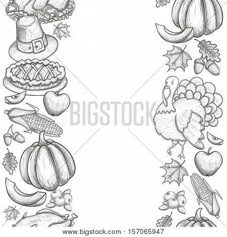 Vertical seamless borders with Thanksgiving icons. Sketch style Thanksgiving day greeting card. Vintage Thanksgiving food leaves and turkey. Thanksgiving Day drawing background for decoration. Vector.
