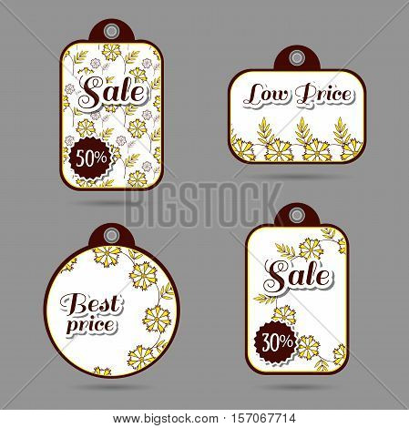 Set of price tags with hand drawn flowers on white. Vector illustration.