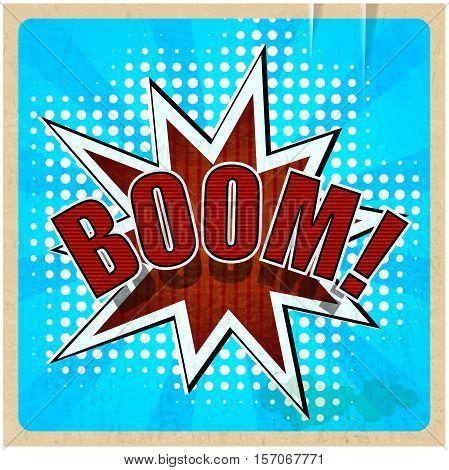 Retro background with Boom Comic Speech Bubble
