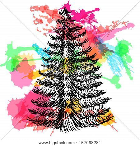 Hand drawn sketch.Christmas tree with colorful watercolor blots