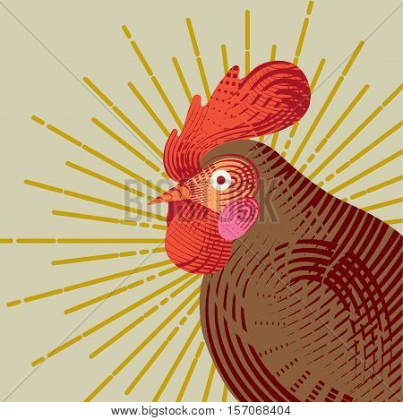 Rooster with graphic light ray. Engraving style. Logo, icon, greeting cards element for New Year's r design. Symbol of new year 2017 .Chinese calendar. Vector illustration.