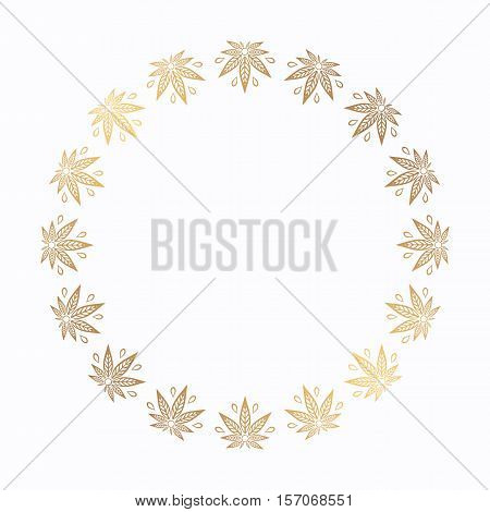 Round gold frame of cannabis. Border of stylized hemp leaf to create promotional products, logos, decoration items.