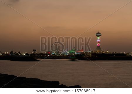 Marina Mall in Abu Dhabi in sunset time United Arab Emirates. Marina Mall Abu Dhabi Emirates shopping centre. Tower in Marina MAll.