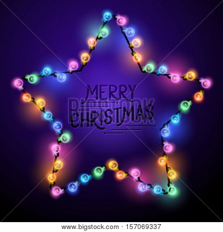 Christmas Star - Seasonal decorations with colourful lights and Merry Christmas text. Vector illustration.