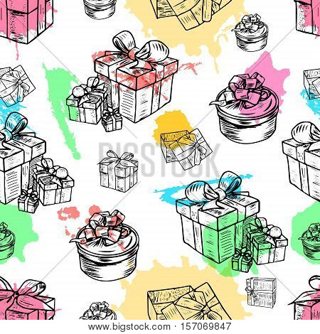 Seamless vector illustration set of gift boxes with bows and ribbons with colorful watercolor blots.Hand drawn sketch