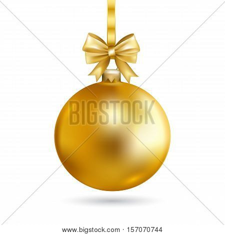 Gold Christmas ball with bow. Holiday christmas toy for fir tree. Vector illustration.