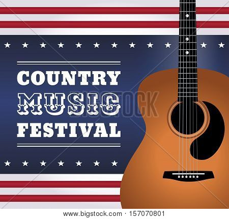 Vector illustration of acoustic guitar on an abstract background in style of USA flag with text