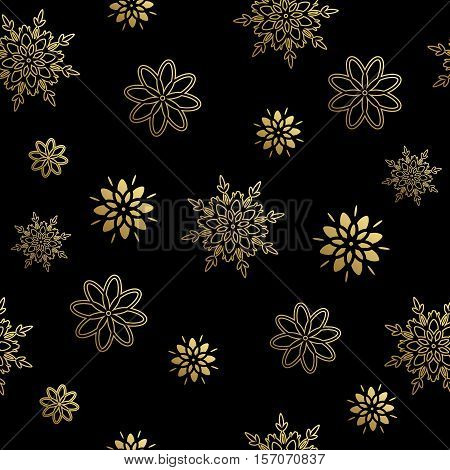 Seamless pattern with gold snowflakes. Vector illustration.