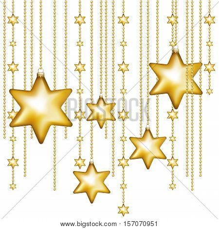 Gold christmas stars isolated on white background. Holiday christmas toy for fir tree. Vector illustration.