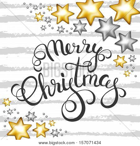 Merry Christmas callygraphy on Christmas gold and silver stars decorations background. Vector illustration.
