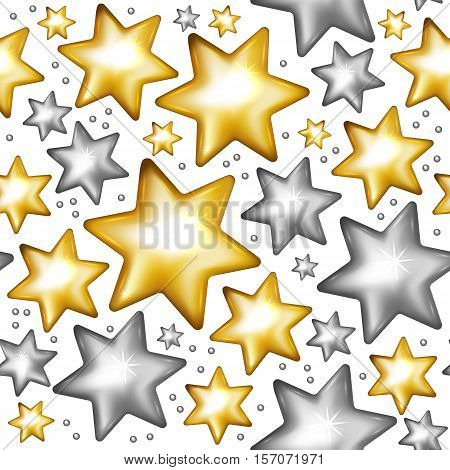 Gold and silver stars seamless pattern. Christmas seamless pattern. Vector illustration.