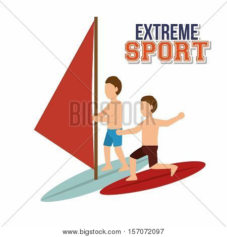 extreme sport water surfing windsurfer vector illustration eps 10