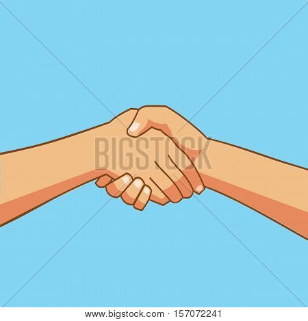 Shaking Hands - Two people shaking hands cartoon- Business icon flat vector illustration stock