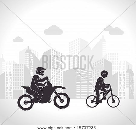 motorcyclis and cyclist urban background vector illustration eps 10