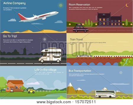 Traveling by airplane and car, train and bus. May be used for travel agency logo, hotel banner or hostel booking theme, transportation or traveling trip, tourism and lodging, delivery theme