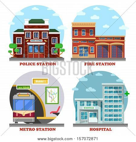 Fire station and hospital building, metro and police station. Architecture of building facades for train station and police department, fire station and hospital or clinic. Exterior view on building