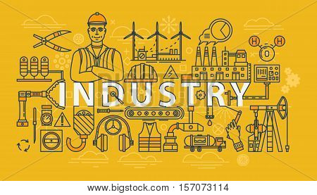 Industry thin line banner or industrial illustration. Worker or builder, engineer in helmet and power or wind plant, crane for industry technology. For production or industry manufacturing banner