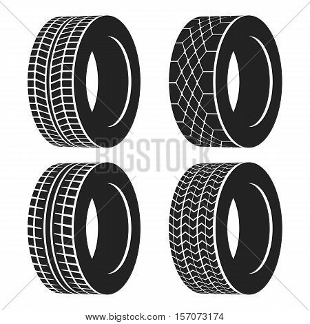 Car tire or rubber wheel for auto isolated. Tire or protector for race speed cars or trucks with different traces. May be used for garage or vulcanization theme, tire maintenance shop logo or banner