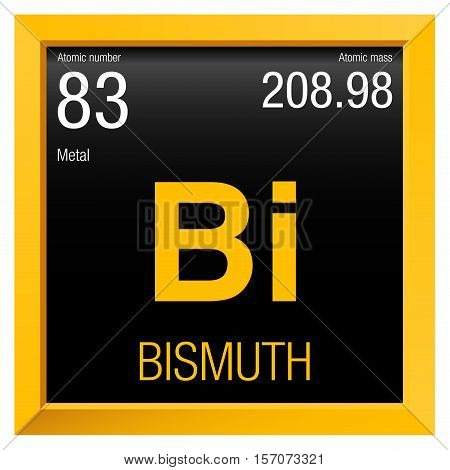 Bismuth symbol. Element number 83 of the Periodic Table of the Elements - Chemistry - Yellow frame with black background