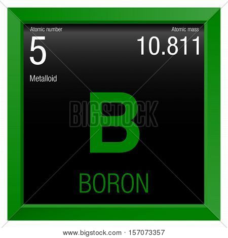 Boron symbol. Element number 5 of the Periodic Table of the Elements - Chemistry - Green frame with black background