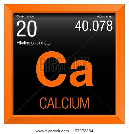 Calcium symbol. Element number 20 of the Periodic Table of the Elements - Chemistry - Orange frame with black background