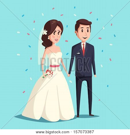 Bride and groom as love wedding couple illustration. Cartoon husband and romantic wife ceremony of wedding, female with flowers. Wedding invitation card and woman and man celebration engagement theme