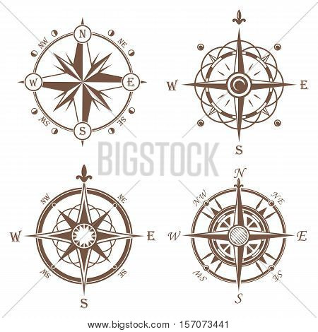 Isolated vintage or old compass rose icons. Sea or ocean navigation compass for ocean or sea boat or ship. May be used for retro cartography icon or traveler compass sign, adventure rose.