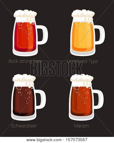 Beer mug or glass goblet, tankard isolated icons. Foam over bock strong beer and marzen, schwarzbeer and dortmund beer in glass mug, stein. May be used for shop or restaurant logo, mug icon