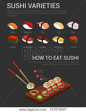 Japanese variety of sushi and chopsticks with instruction how to use and eat sushi with soy, sauce and wasabi for sushi rolls. Chopstick and maguro, ebi, tai, ikura sushi isolated, kitchen, food theme