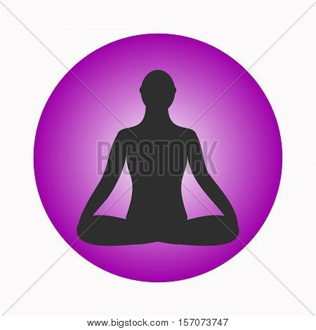 Meditation icon. human meditating in lotus pose. Vector Yoga Pose. Fitness gym and Sport.Relax and zen.