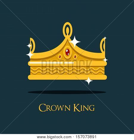 Heraldic emperor or king, monarch crown. Vintage royal queen or princess, prince shining crown as wealth and success sign. Old, retro gold luxury icon and classic heraldry crown, victorian decoration